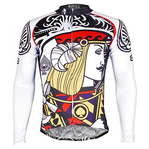 ILPALADINO Men's Cycling Jersey Long Sleeve Biking Shirts Breathable Poker (M, ()