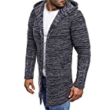 Jacket Long Sleeve Outwear Men Christmas Halloween Christmas Eve Mens Autumn Winter Fashion Men's Hooded Solid Knit Trench Coat Jacket Cardigan Blouse