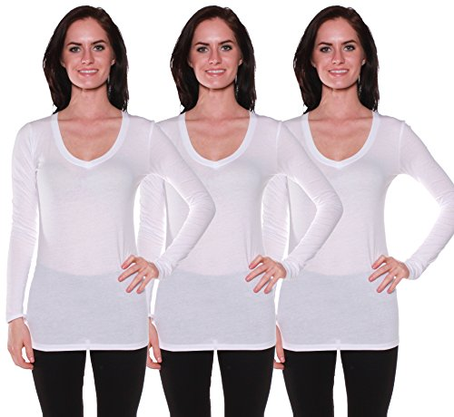 Active Basic Women's Long Sleeve V-Neck T Shirts 3 Pack(3 Wht-S)