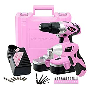 Pink Power Drill and Electric Screwdriver Tool Kit PP1848K 18 Volt Cordless Drill Set with Charger and Bit Set (Renewed)