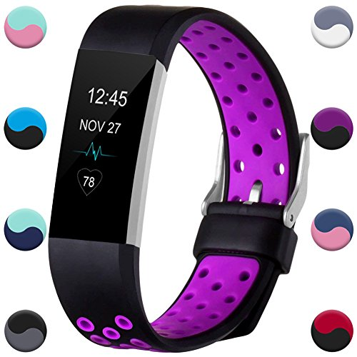 GEAK for Fitbit Charge 2 Bands, Replacement Accessories for Fitbit Charge 2 HR, Large,Black/Purple