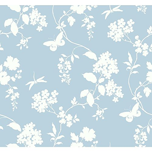 York Wallcoverings Silhouettes Trailing Floral and Vines Removable Wallpaper, Blue/White