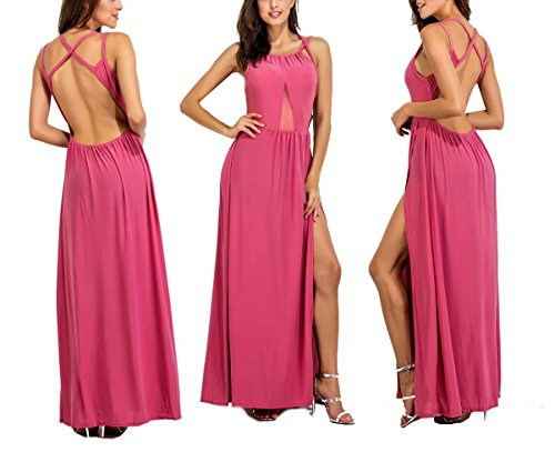 Dress Dress Long Pink Women Evening Maxi s Lkous Sexy Split Mesh Beach Backless Cocktai Party 0T4Owq