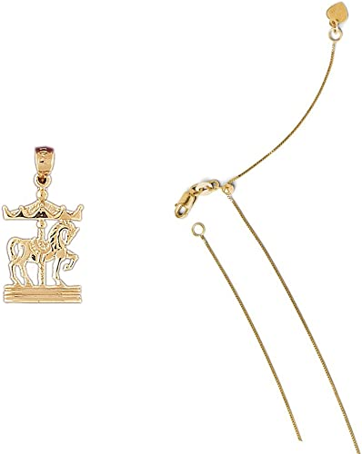 14K Yellow Gold Carousel Pendant on an Adjustable 14K Yellow Gold Chain Necklace