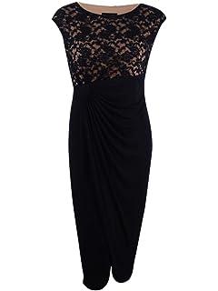 33e7ad6e Connected Women's Plus Size Soutache Faux-Wrap Gown (24W, Black/Nude ...