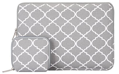 Mosiso Canvas Quatrefoil Laptop Sleeve Bag with Small Case Compatible with 13 Inch Laptop, Light Gray