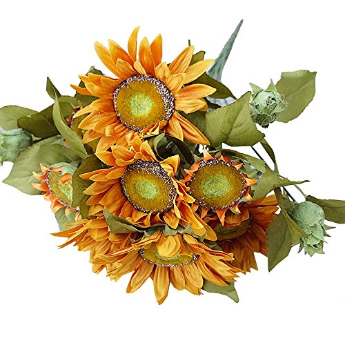 Kaimao 1 Bundle Artifical Sunflowers Bouquet, Artificial Flower with Green Leaves for Home Decor and Wedding Decorations -- (Green Pot O Gold Glasses)