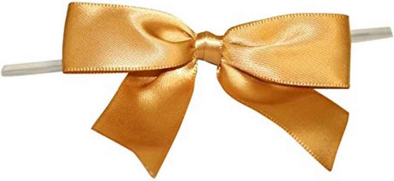 Reliant Ribbon 5170-92805-3X2 Satin Twist Tie Bows - Large Bows, 7/8 Inch X 100 Pieces, Old Gold