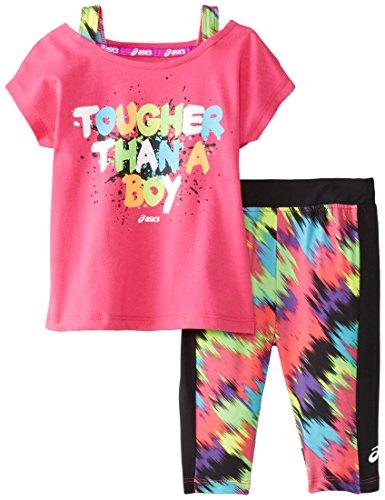 ASICS Little Girls' Twin Peak Set, Pink Glow, 6