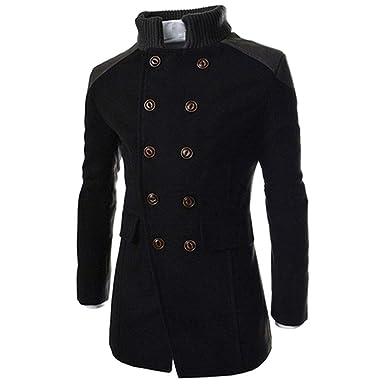 3cb9ce89103 Rambling Mens Jacket Warm Winter Trench Long Outwear Coat Slim Casual  Button Smart Overcoat
