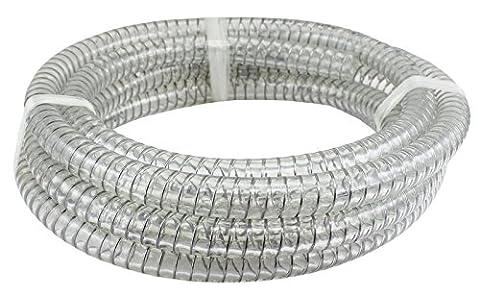 Duda Energy STpvc100-005ft 5' x 1 ID Steel Wire Suction PVC Flexible Tubing High Pressure Heavy Duty UV Chemical Resistant Vinyl - Heavy Duty Steel Tubing