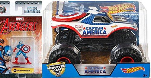 Captain America Monster Jam Hot Wheels Big 1:24 Scale Marvel 2017 + Mini Metal Figure Captain America Avengers with shield