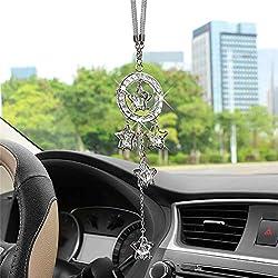 Crystal Pentagram Hanging Rearview Mirror Ornament