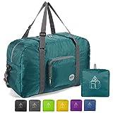 WANDF 22' Foldable Duffle Bag 50L for Travel Gym Sports Lightweight Luggage Duffel, Dark Green