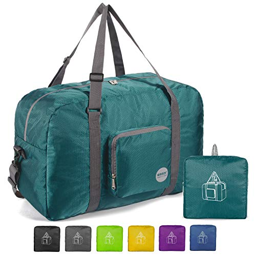 "WANDF 22"" Foldable Duffle Bag 50L for Travel Gym Sports Lightweight Luggage Duffel, Dark Green"
