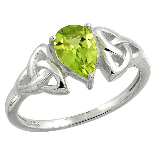 Sterling Silver Celtic Knot Trinity Ring with Natural Peridot, 5/16 inch wide, size 8 (Knot Celtic Peridot)