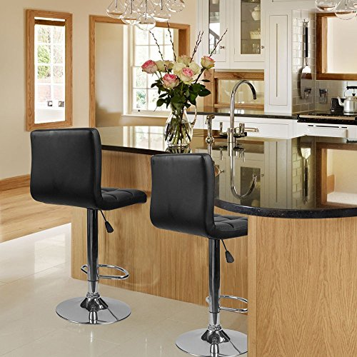 Homall Bar Stools Swivel Black Bonded Leather Barstool Adjustable Counter Height Bar Stool Set