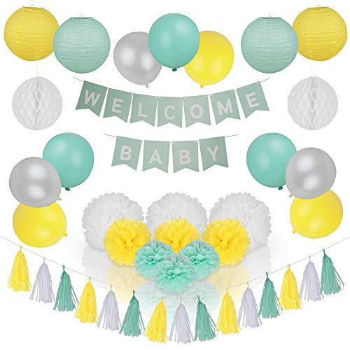 Spotlight Decor - Gender Neutral Baby Shower Decorations | Girl & Boy Set Includes Mint Green, Yellow & Pearl White Balloons, Banner, Paper Lanterns, Pom Poms & Party Tassels | Easy to Assemble]()