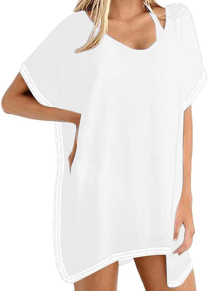 JURTEE Blusa Babero De Mujer Moda Solid Color Cuello En V Suelta Mantón Sin Manga Tops Gasa Camiseta Ropa De Playa: Amazon.es: Ropa y accesorios