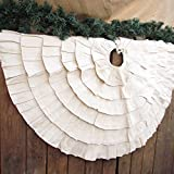 Jubilee Creative Studio 40 inch Ruffled Natural White Textured Cotton Christmas Tree Skirt by