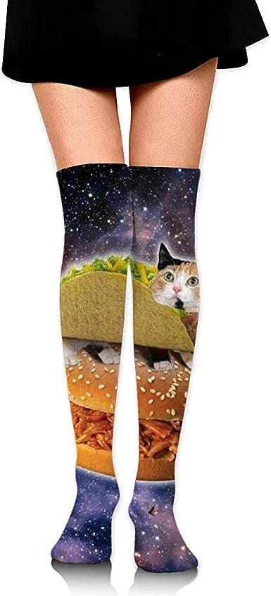 Uridy Calcetines hasta la rodilla Tubo lindo gato de taco en espacio Impresiones sobre muslo Medias largas y altas: Amazon.es: Ropa y accesorios