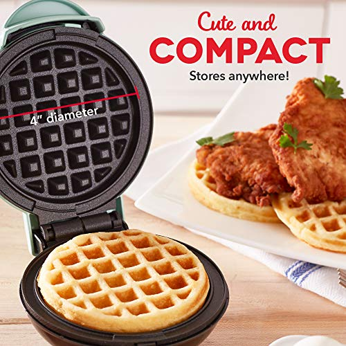Dash Mini Maker: The Mini Waffle Maker Machine for Individual Waffles, Paninis, Hash browns, & other on the go Breakfast, Lunch, or Snacks - Aqua
