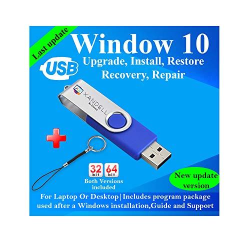 Compatible Windows 10 all Version Install To Factory Upgrade Recovery Repair Reinstall Clean Reboot Restore Fix Update Bootable | 32/64 Bit & Antivirus, Drivers,16 GB usb | Desktop or Laptop + Lanyard
