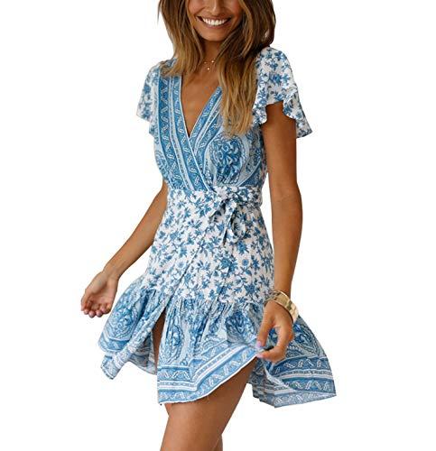 Womens Boho Dress Wrap Swing Sundress Ruffle Floral V Neck A Line Beach Mini Skirt with Belt (S, Light Blue) (1970s Mini)