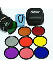 Yadsux 72mm Camera Lens Color Filters, Including Red, Orange, Blue, Yellow, Green, Brown, Purple, Pink and Gray ND Filters in Nine Colors, Plus Travel Filter Case, Lens Cleaning Towel (72mm)