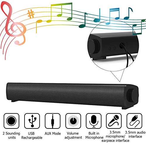 Computer Speakers, 15.7Inch USB Powered 6W Drivers Stereo Wired Sound Bar with Built in Microphone, 3.5mm Aux-in…