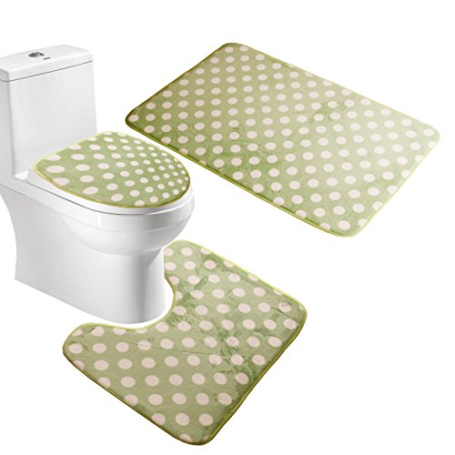 Amagical Polka Dots 3 Piece Bath Mat Pedestal Toilet Rug Set for Bathroom (Green) - 3 Piece Pedestal