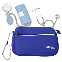 DURAGADGET Blue Neoprene Carry Case for Storing Medical Equipment (Stethoscope / Sphygmomanometer) - with Front Storage Compartment and Wrist Strap
