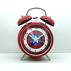Wolf Warrior Novelty Superhero Analog Alarm Clock Silent Sweep Night Backlight Home Decoration Round Desk Alarm Clock Children Gift (4 Captain of America)