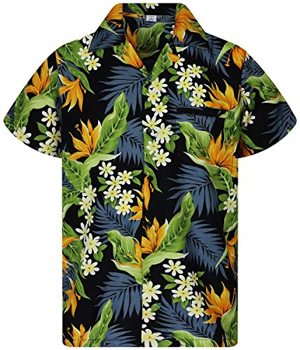 King Kameha Chemise Hawaïenne pour Homme Funky Casual Button Down Very Loud Courtes Unisex Strelitzie