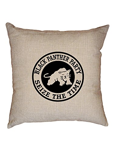 Hollywood Thread Black Panther Party Seize The Time Powerful Decorative Linen Throw Cushion Pillow Case with ()
