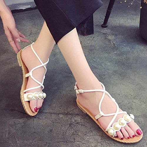 Flat Sandals Roman White Summer Casual Cross Sandals Transer Comfy Shoes Women Ladies Straps f1qtwt4