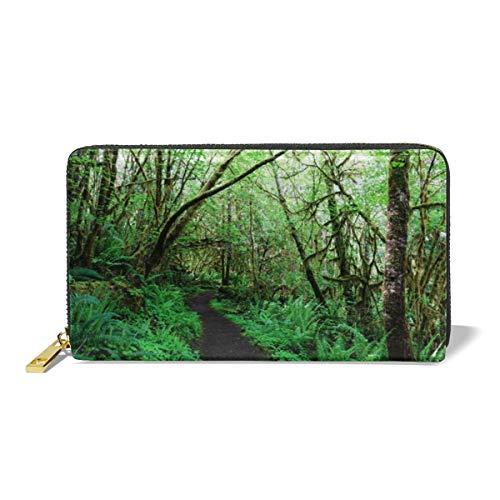 Women Leather Wallet Zipper Around Clutch Purse Waterproof Card Holder Slim Handbag - Forest ()