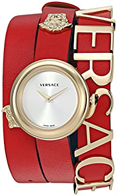 Versace Women's 'V-Flare' Quartz Stainless Steel and Leather Watch, Color:Red (Model: VEBN00418) by P2F Holdings, LLC dba Madluxe Group Watches Parent Code
