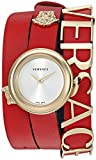 Versace Women's 'V-Flare' Quartz Stainless Steel and Leather Watch, Color:Red (Model: VEBN00418)