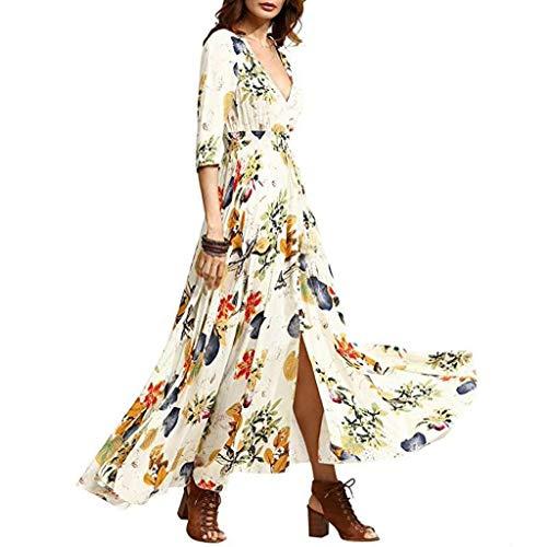 Sanyyanlsy Women Cotton Bohemian Flower Print Button Split Empire Deep V-Neck Swing Pleated Ankle Length Elegant Dress White