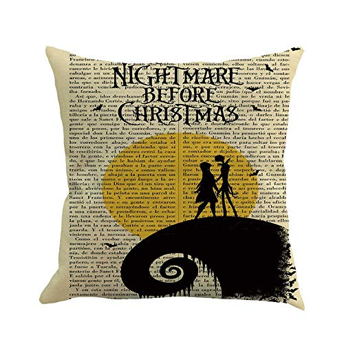 Pillow Cases Cotton Linen English Newspaper Witch Print Sofa Happy Halloween Cushion Cover (C, 18