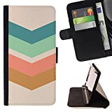 Ihec-Tech / Flip Wallet Diary PU Leather Case Cover for Sony Xperia Z3 Compact - Arrow Pattern Pastel Green Brown