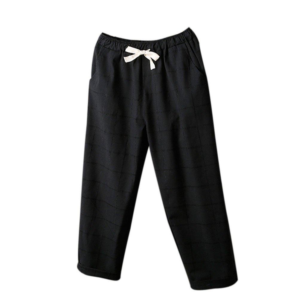 Pants For Womens,Clearance Sale -Farjing Womens Waist Paperbag Trousers Ladies Striped Lattice Pants Casual Harem Pants(XL,Black)