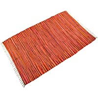DG Home Goods Chindi 4x6 Area Variegated Recycled Rag Rug Multi-Color Natural Woven Fabric For Living Room Kitchen Bedroom Dorm for Hardwood Floors