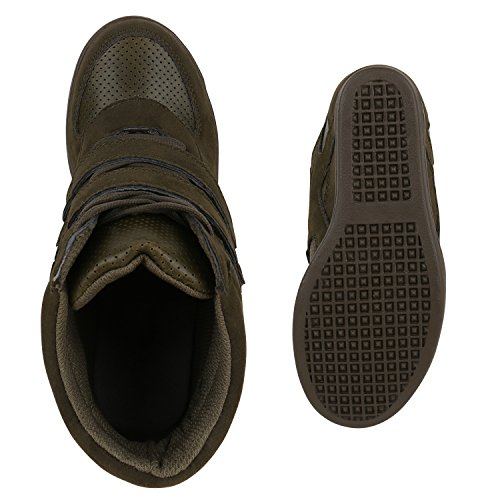 Stiefelparadies foncé compensées femme vert chaussures RxRzfa