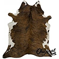 original cowhide Rug Genius Leather Hair on Hides Decorative Value Rare Giant Size Approx 7X8 ft (56-66 sqf) (Dark Brindle)
