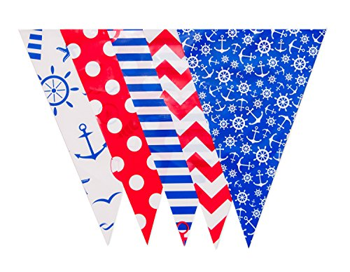 Nautical Beach Lake Cottage Sailing Banner Pool Party Decoration Pennant Flags (JA002)