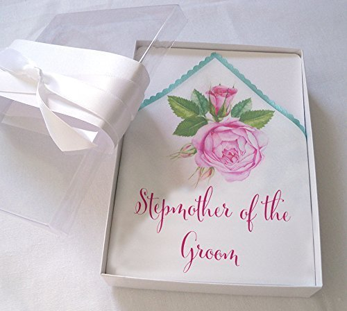 Stepmother of the Groom wedding handkerchief with watercolor roses in pink and blush (Roses Hankie)