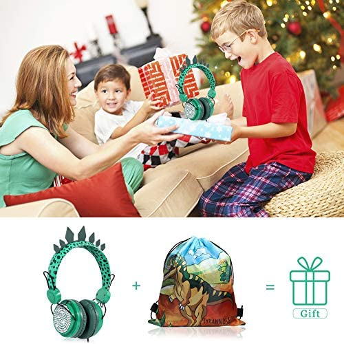 Kids Headphones Boys, Wired Dinosaur Headphones w/Mic 3.5mm Jack & Adjustable Headband & Tangle-Free Cord, Over On Ear Headset for School Birthday Xmas, w/1pc Dinosaur Party Bag, Green