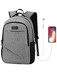 Tzowla Business Laptop Backpack Water Resistant College Backpack with USB Charging Port 15.6 Inch Computer Backpacks for Women Men, Casual Hiking Travel Daypack (Gray)
